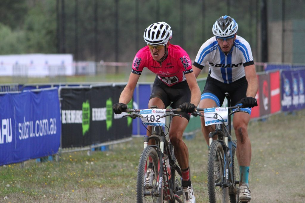 A fully focused Michael racing in the Australian MTB Series