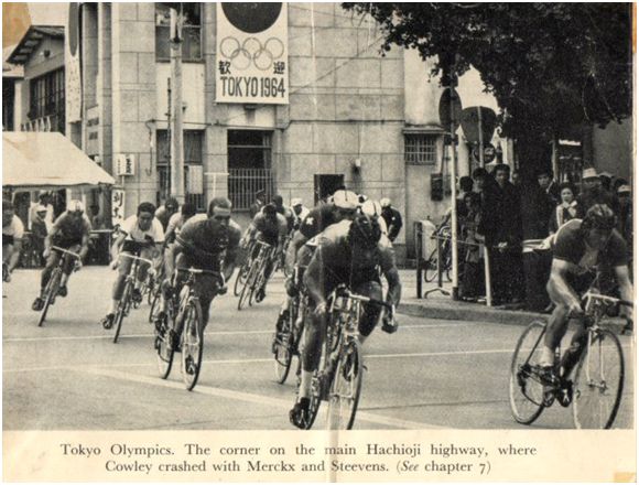 A few riders took a dive towards the end of the road race, including Mr. Merckx.
