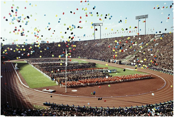 Scenes from the 1964 Olympic games in Tokyo.