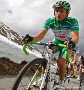 Riding the Giro in 2010 as the King of the Mountain, in some fairly cold conditions!