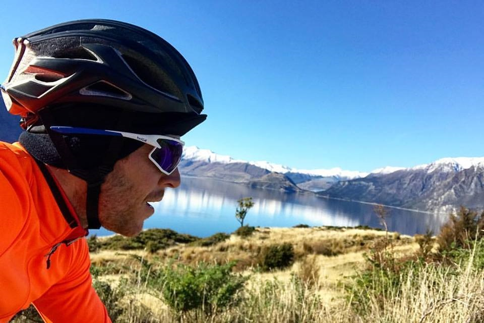 Cycling past lake Hawea NZ