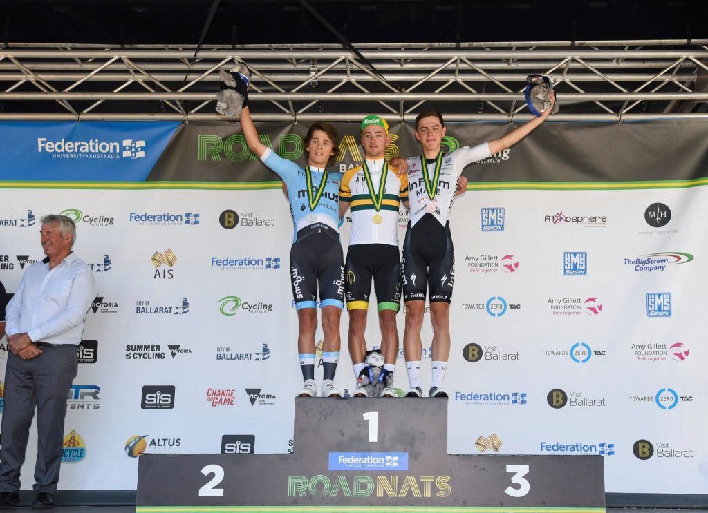 the podium in the men's under 19 nationals road race