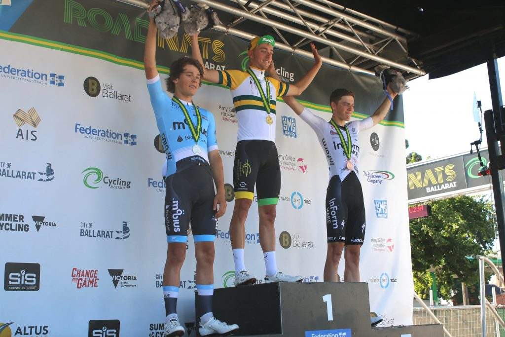 The podium for the men's U19 Australian National Road Race