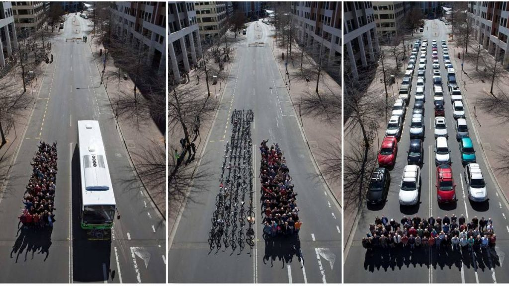 bicycles vs cars space
